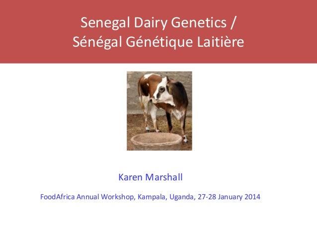 Senegal Dairy Genetics / Sénégal Génétique Laitière Karen Marshall FoodAfrica Annual Workshop, Kampala, Uganda, 27-28 Janu...