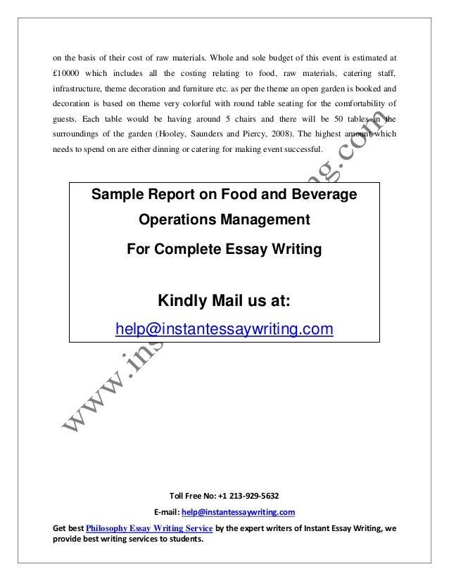 Hospitality training report Essay Sample
