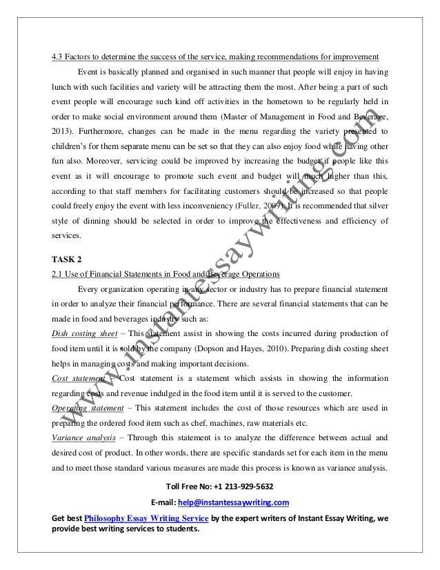 Food and beverage operation management essay