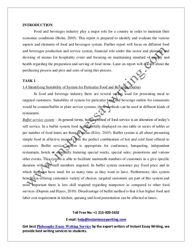 Research paper about catering services