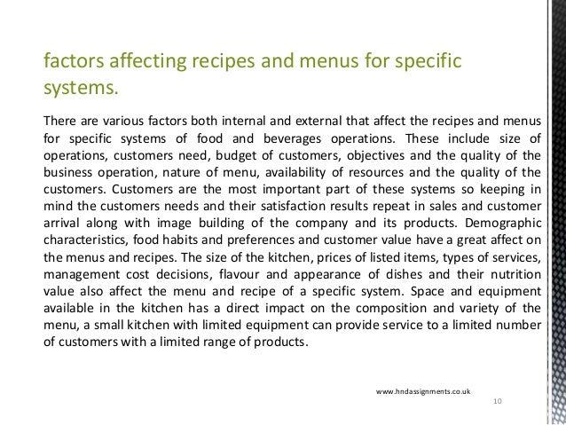 factors affecting recipes and menus