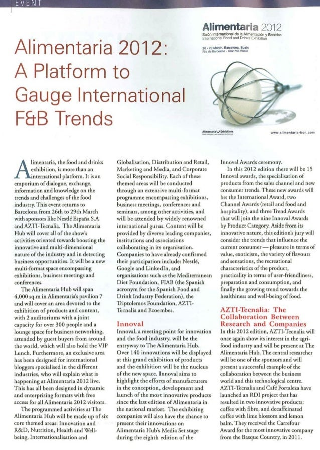 Alimentaria 2012: A platform to Gauge International F&B Trends. Food and Beverages Business Review (India), enero 2012