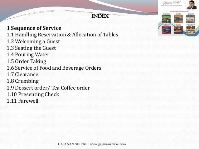 Food And Beverage Service Sequence Pdf