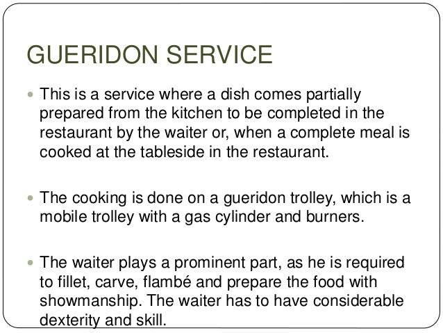 CAFETERIA SERVICE  This service exists normally in industrial canteens, colleges, hospitals or hotel cafeterias.  To fac...
