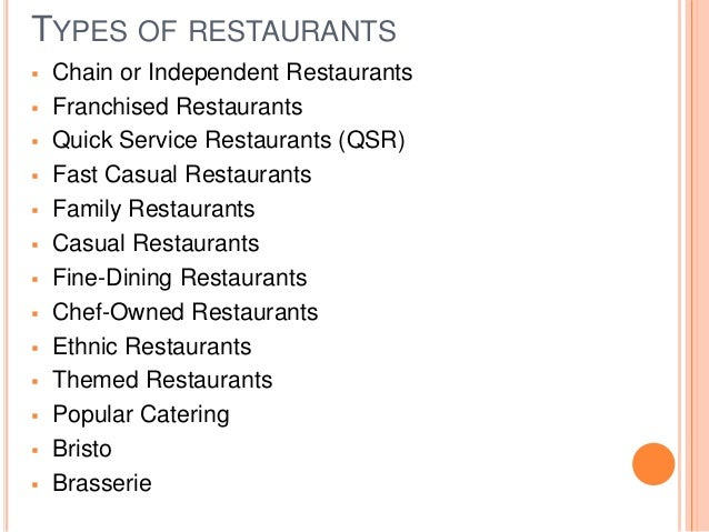 classifications of restaurants This category is located at category:restaurants by type note: this category should be empty see the instructions for more information administrators: if this category name is unlikely to be entered on new pages, and all incoming links have been cleaned up, click here to delete.