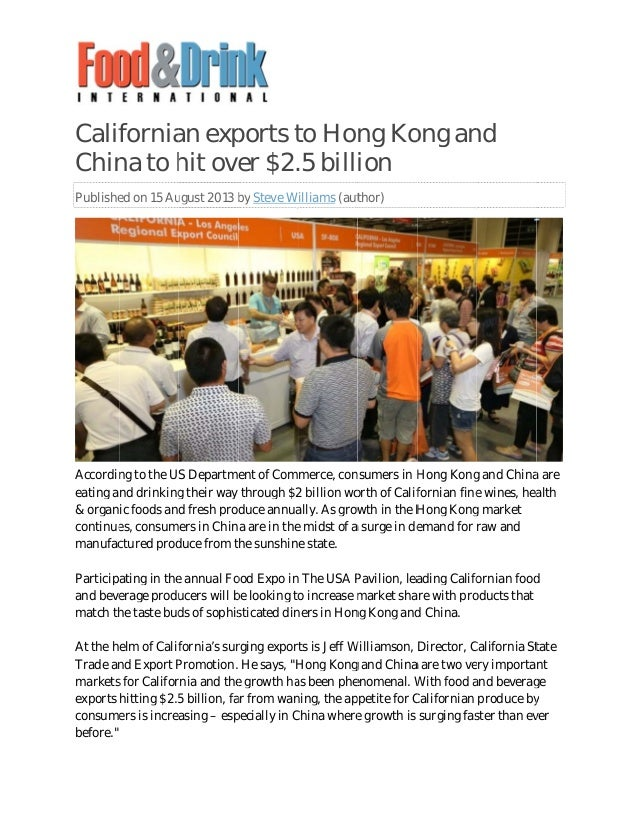 Calif Chin Publishe Accordin eating an & organ continue manufac Particip and beve match th At the h Trade an markets expor...