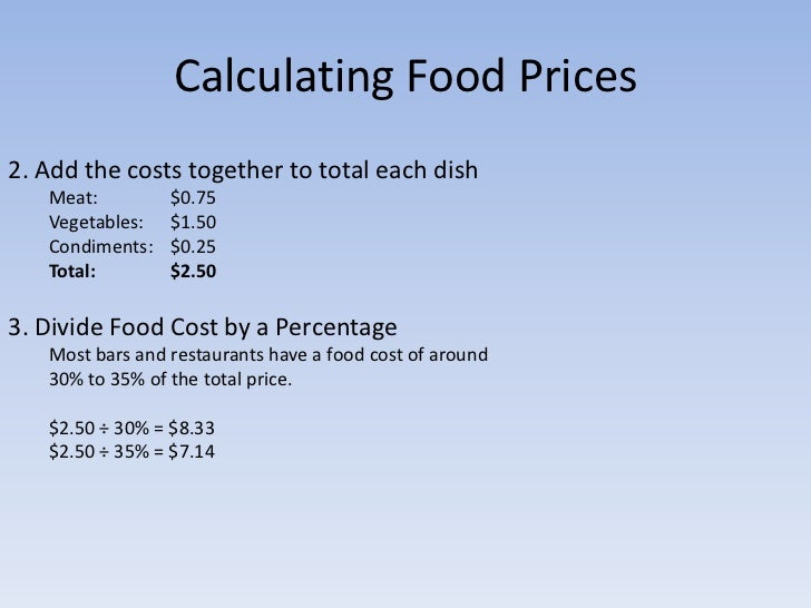 How To Calculate Menu Food Cost Percentage