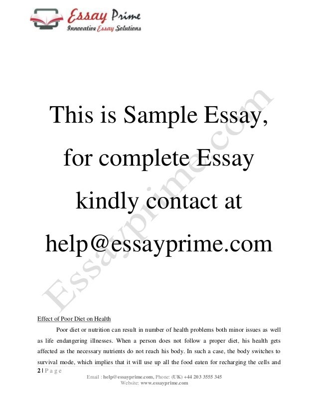 Food And Health Essay Sample Similarly It Is Easy To