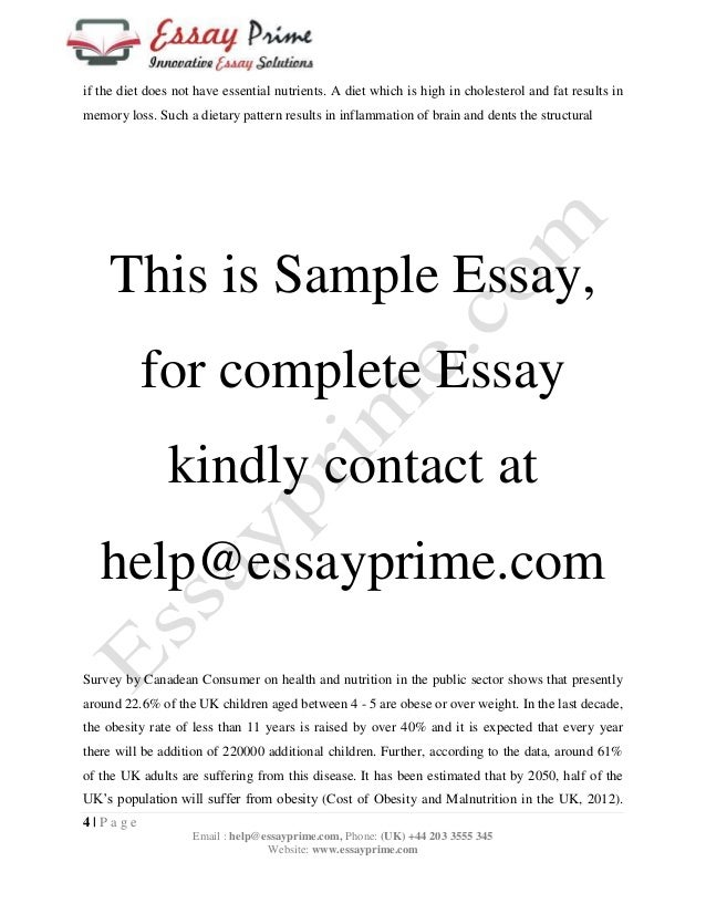 food and health essay sample   if