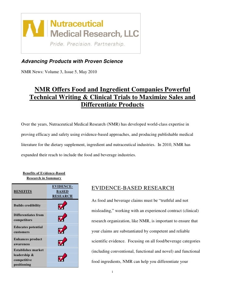 Advancing Products with Proven Science     NMR News: Volume 3, Issue 5, May 2010               NMR Offers Food and Ingredi...