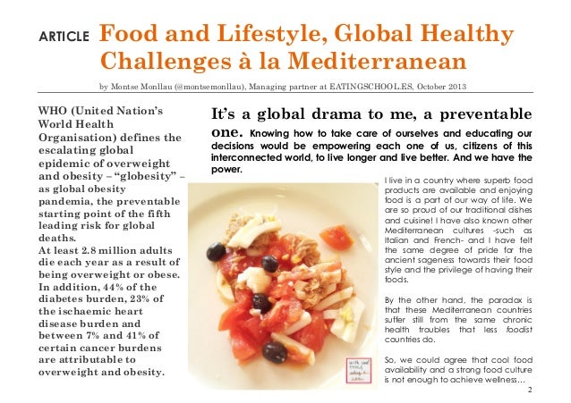 Food and lifestyle global healthy challenges article by for Articles cuisine