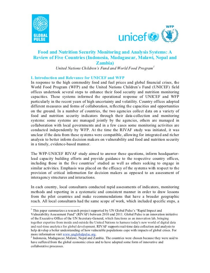 Food and Nutrition Security Monitoring and Analysis Systems: A    Review of Five Countries (Indonesia, Madagascar, Malawi,...