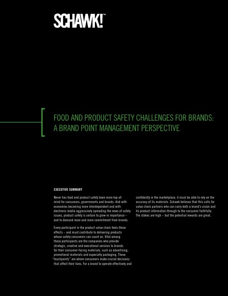 food and product safety challenges for brands:a brand point management perspective ExEcutivE Summary never has food and pr...