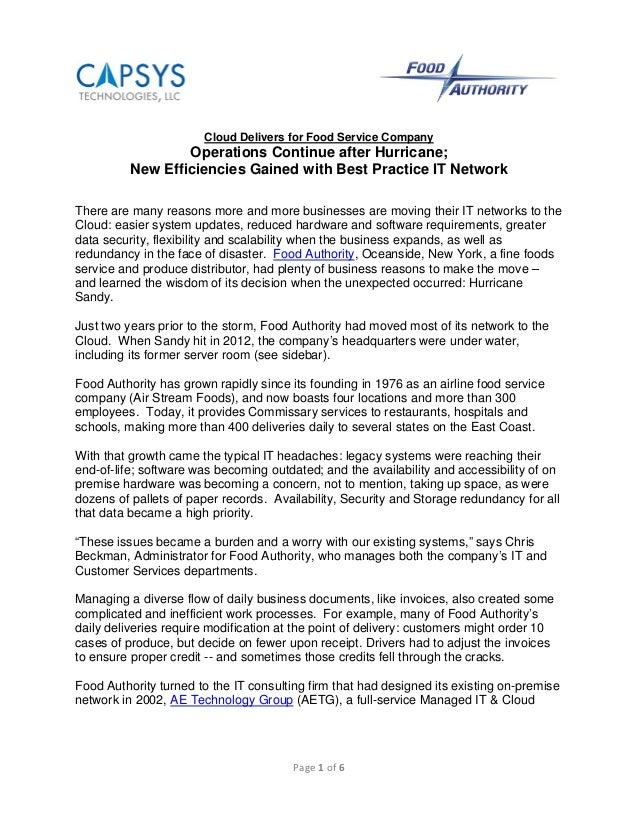 Page 1 of 6  Cloud Delivers for Food Service CompanyOperations Continue after Hurricane;New Efficiencies Gained with Best ...