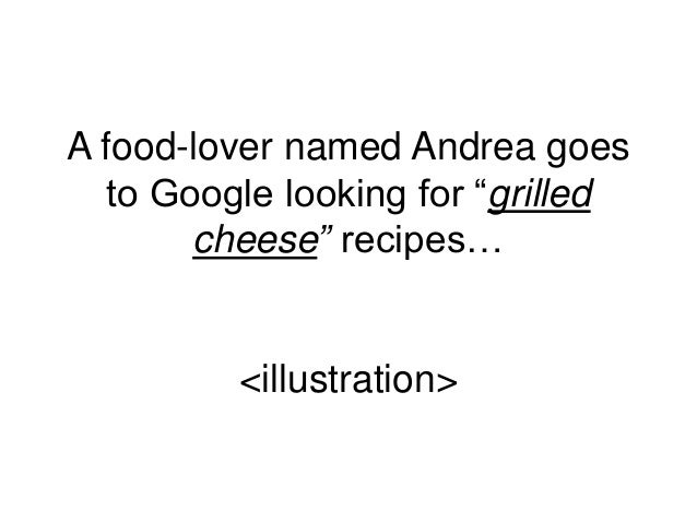 """A food-lover named Andrea goes to Google looking for """"grilled cheese"""" recipes… <illustration>"""