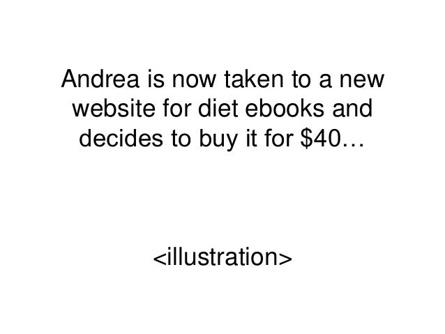 Andrea is now taken to a new website for diet ebooks and decides to buy it for $40… <illustration>