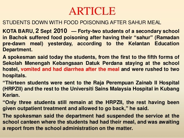 food poisoning in malaysia School food poisoning cases unacceptable, says mahdzir  putrajaya: the  endless spate of food poisoning cases in schools is.