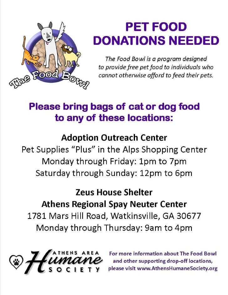 PET FOOD                  DONATIONS NEEDED                      The Food Bowl is a program designed                   to p...