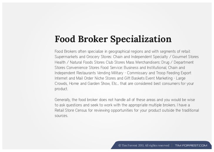 Food Broker Overview