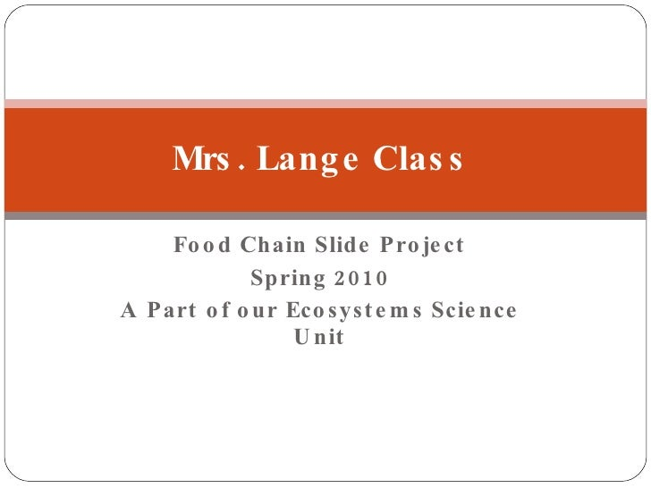 Food Chain Slide Project Spring 2010 A Part of our Ecosystems Science Unit Mrs. Lange Class