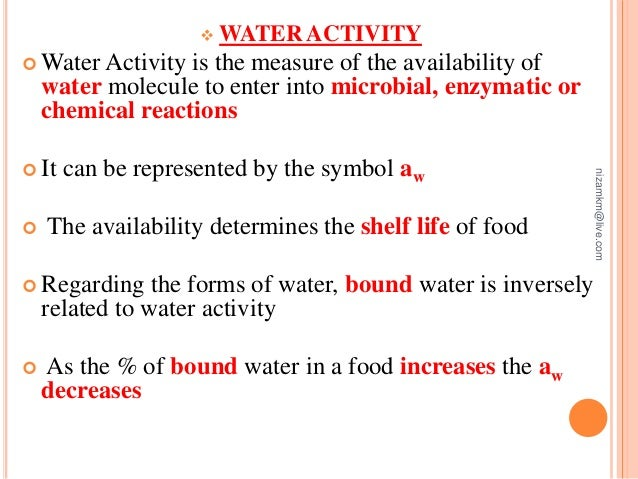 Water Activity In Food Food