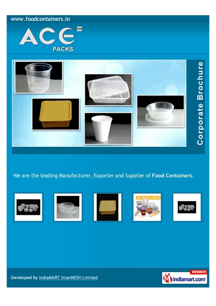 We are the leading Manufacturer, Exporter and Supplier of Food Containers.