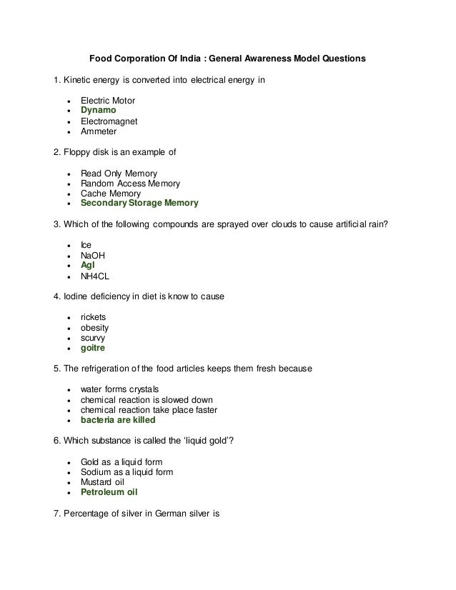 Food Corporation Of India : General Awareness Model Questions 1. Kinetic energy is converted into electrical energy in  E...