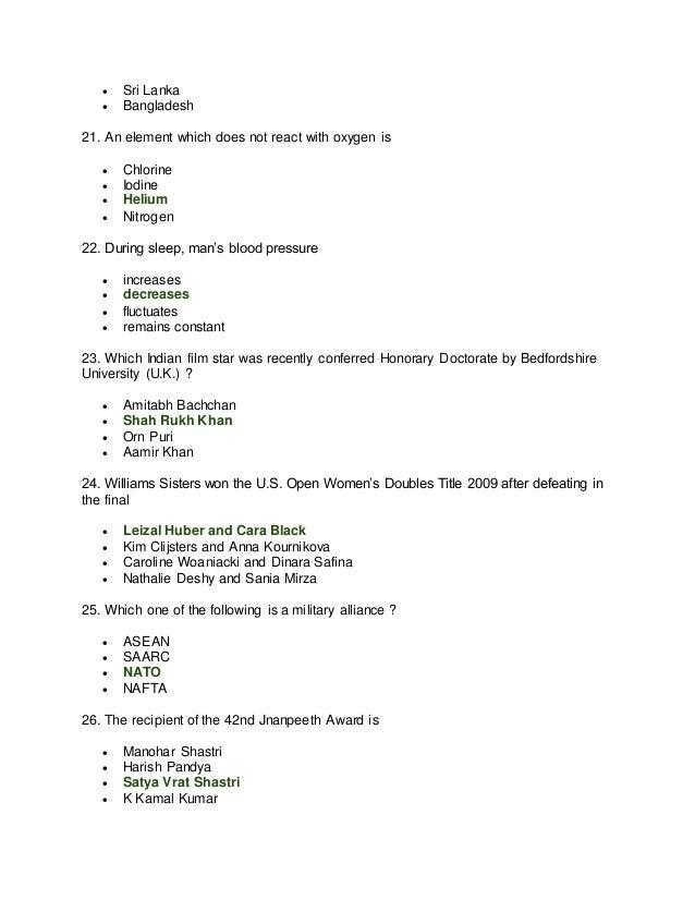  Sri Lanka  Bangladesh 21. An element which does not react with oxygen is  Chlorine  Iodine  Helium  Nitrogen 22. Du...