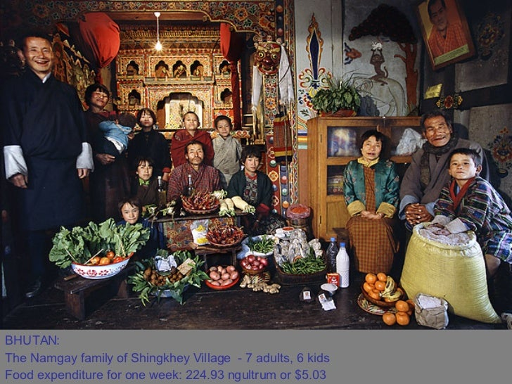 BHUTAN:  The Namgay family of Shingkhey Village - 7 adults, 6 kids  Food expenditure for one week: 224.93 ngultrum or $5....