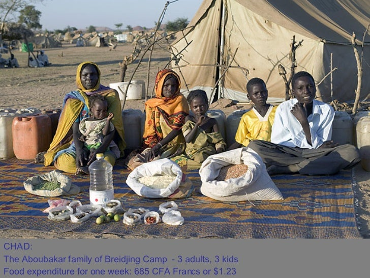 CHAD:  The Aboubakar family of Breidjing Camp - 3 adults, 3 kids  Food expenditure for one week: 685 CFA Francs or $1.23