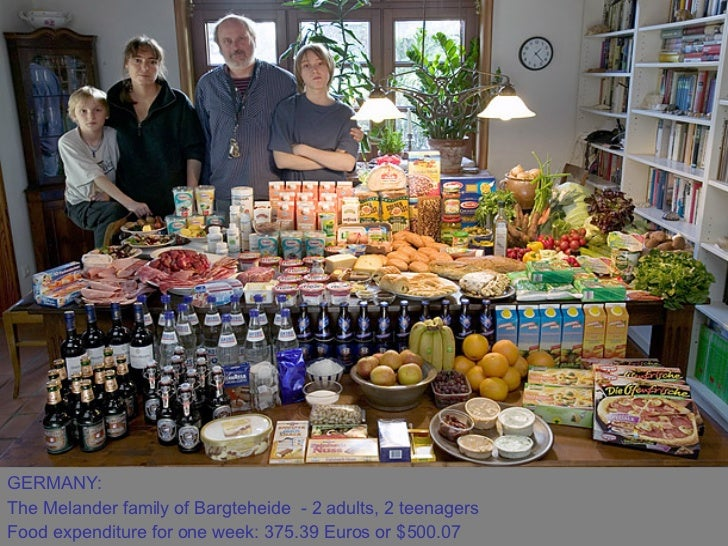 GERMANY:  The Melander family of Bargteheide - 2 adults, 2 teenagers  Food expenditure for one week: 375.39 Euros or $500...