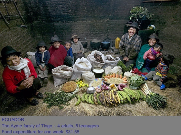 ECUADOR:  The Ayme family of Tingo - 4 adults, 5 teenagers  Food expenditure for one week: $31.55