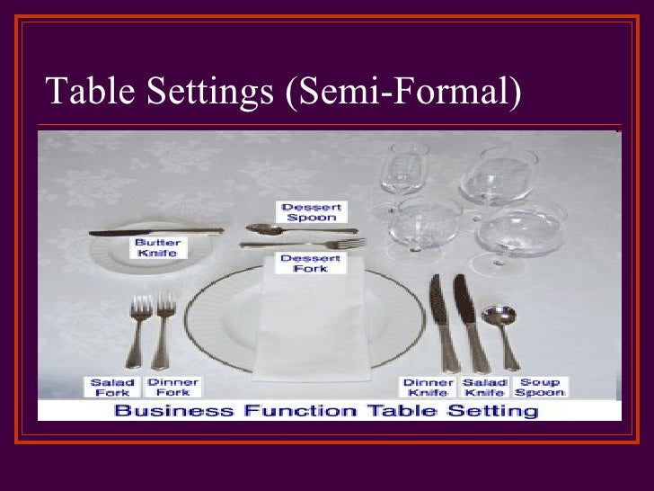 Table Settings Semi Formal