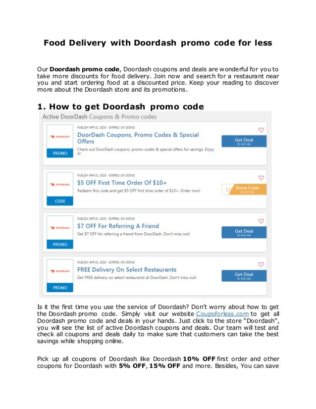 Food Delivery With Doordash Promo Code For Less