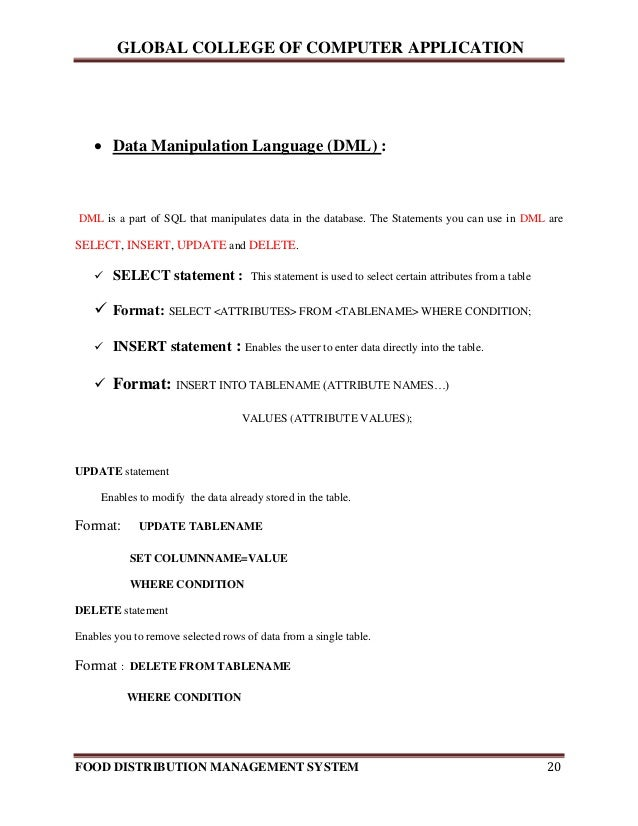 food distribution management system - Lcsw Resume Template