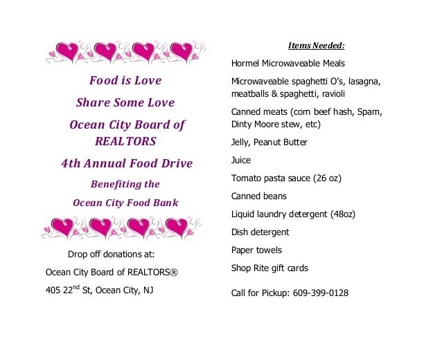 Items Needed: Hormel Microwaveable Meals  Food is Love Share Some Love Ocean City Board of REALTORS 4th Annual Food Drive ...