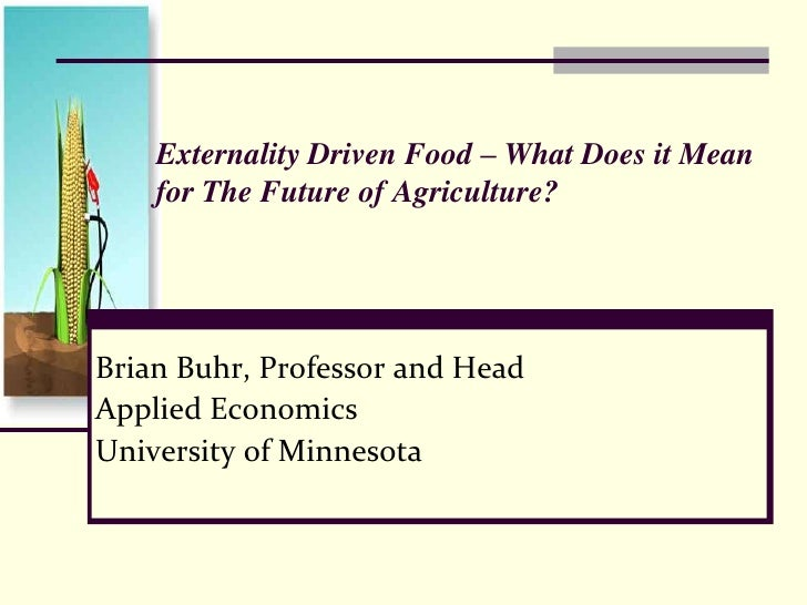 Externality Driven Food – What Does it Mean for The Future of Agriculture?<br />Brian Buhr, Professor and Head<br />App...