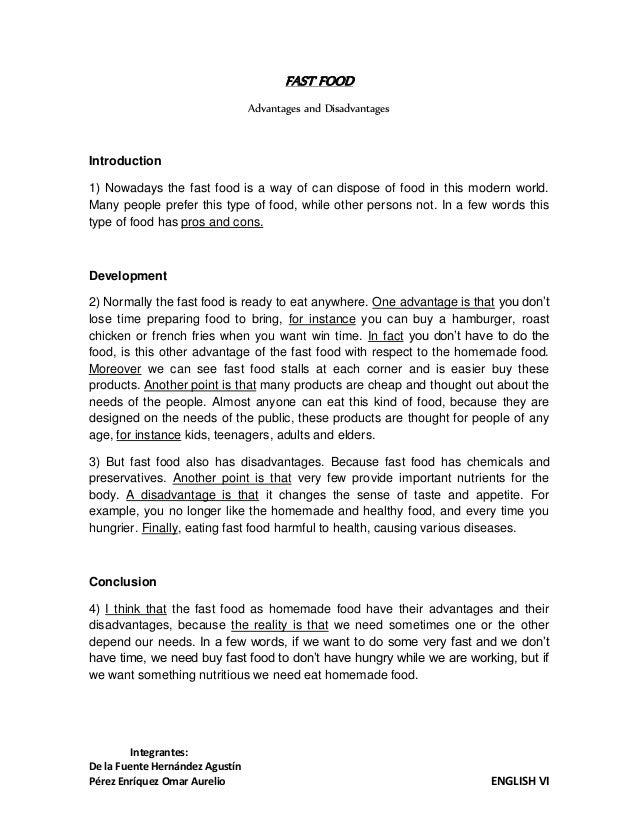 essay on homemade food