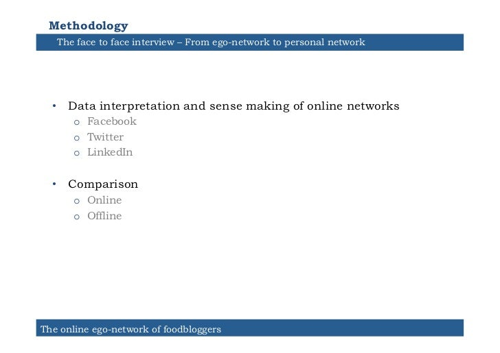 Methodology   The face to face interview – From ego-network to personal network  • Data interpretation and sense making o...