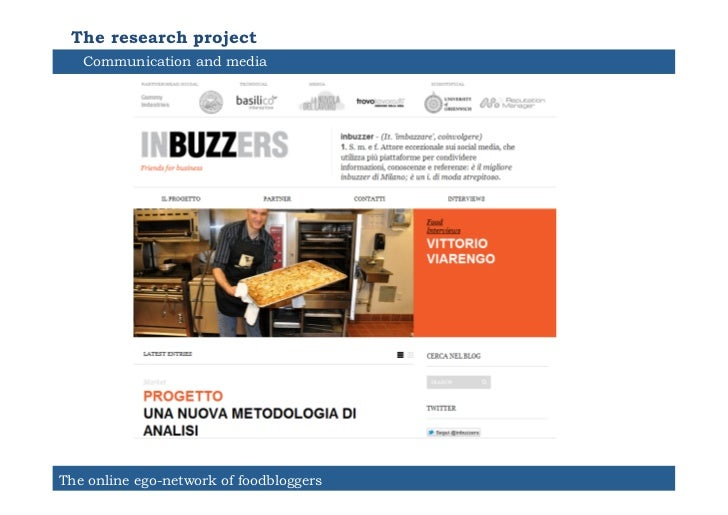 The research project   Communication and mediaThe online ego-network of foodbloggers