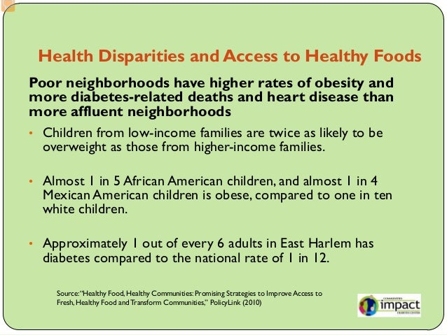 Access To Healthy Foods In Low Income Neighborhoods