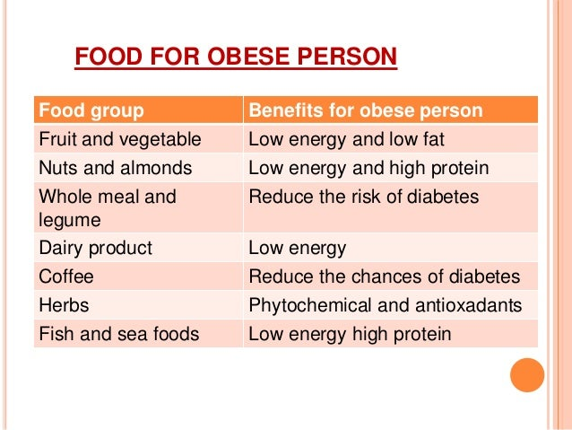Food for obesity