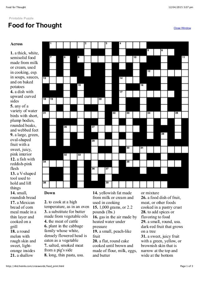 Food for thought crossword