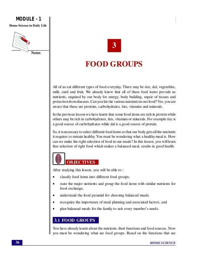 Home Science Module 1 Food Groups Home Science In Daily Life  Food