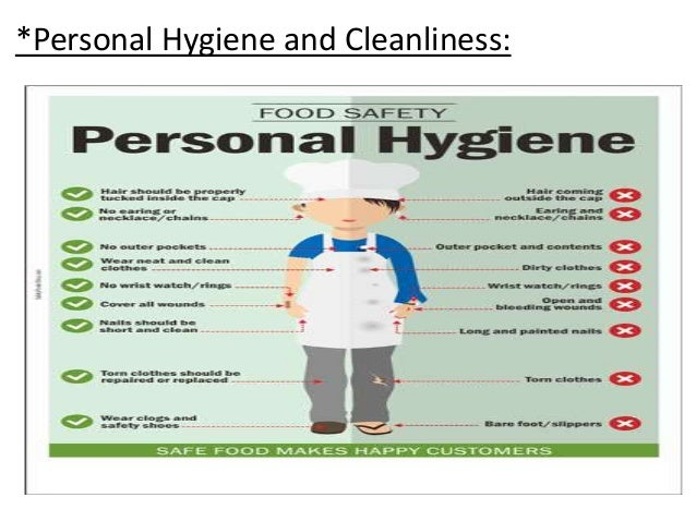 hygiene and food Cleanliness and food hygiene food business classifications food handlers have a responsibility to ensure their personal hygiene does not make food unsafe in any way.