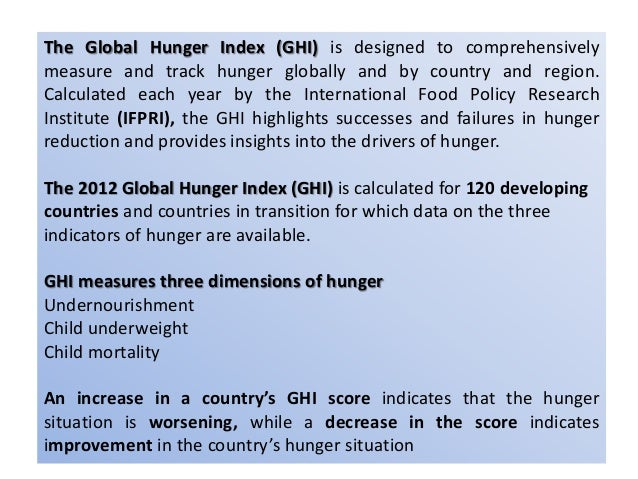 """According to the GHI, Hunger on a global scale remains """"serious."""" Twenty countries have levels of hunger that are """"alarmin..."""