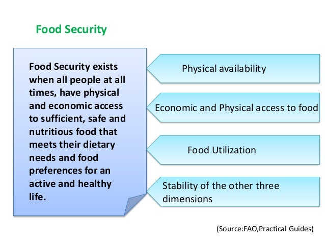 Food Security exists when all people at all times, have physical and economic access to sufficient, safe and nutritious fo...