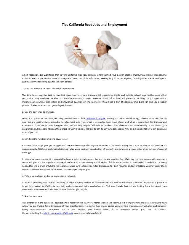 Food jobs and employment opportunities and tips 5 tips california food jobs spiritdancerdesigns Images