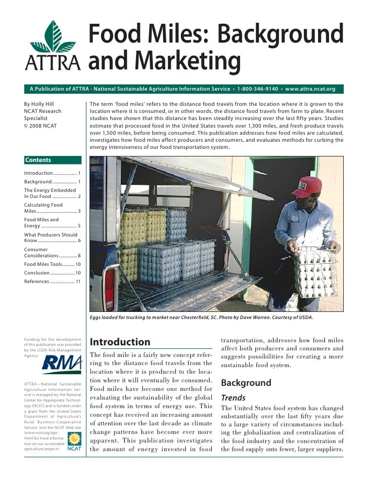 Food Miles: Background                                               and Marketing    A Publication of ATTRA - National Su...