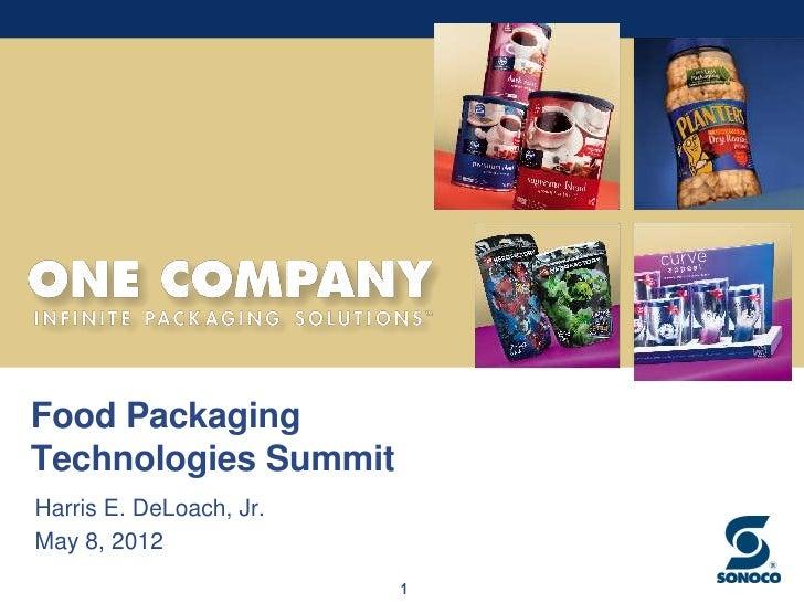 Food PackagingTechnologies SummitHarris E. DeLoach, Jr.May 8, 2012                         1